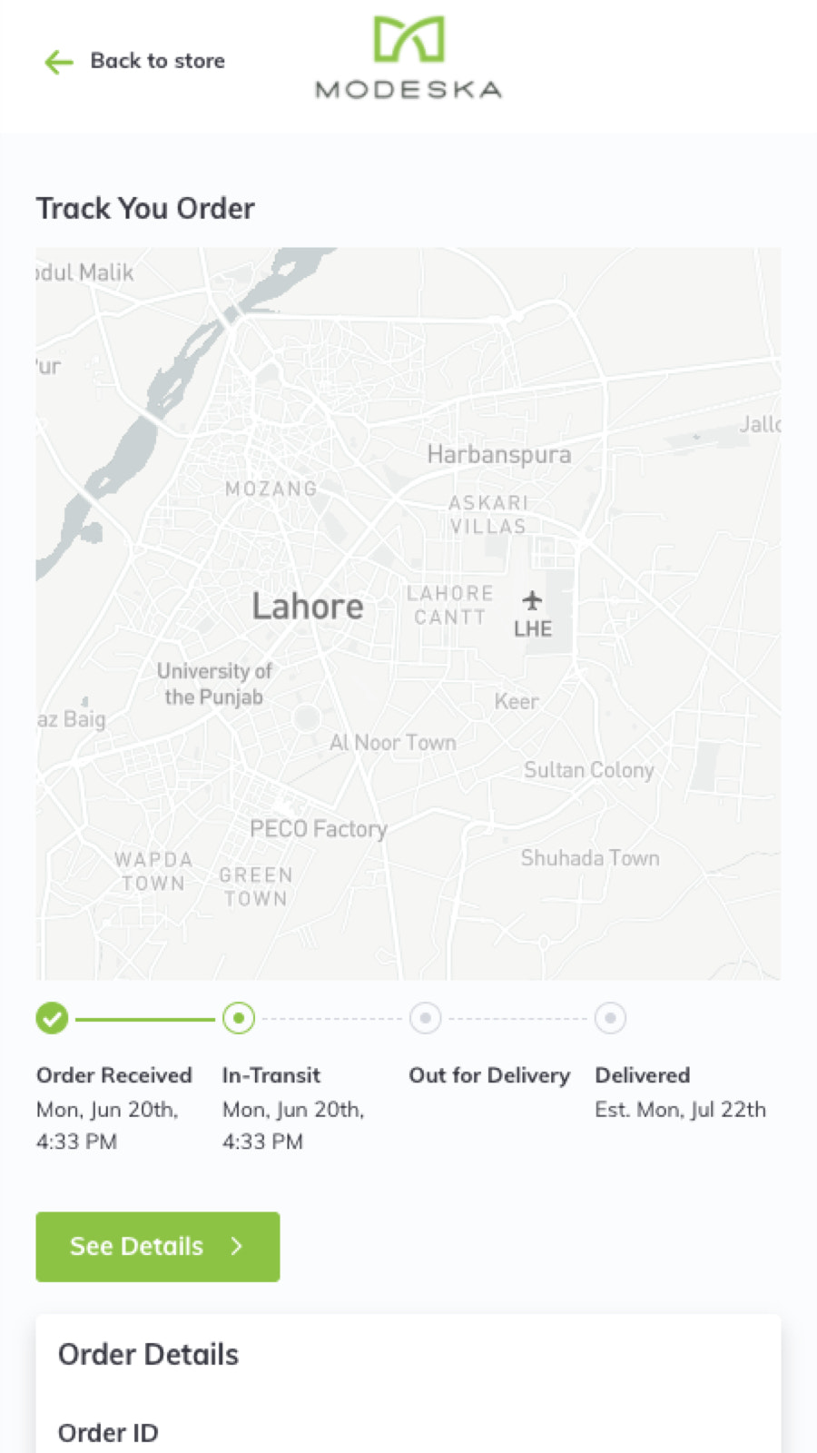 Branded customized order tracking on mobile