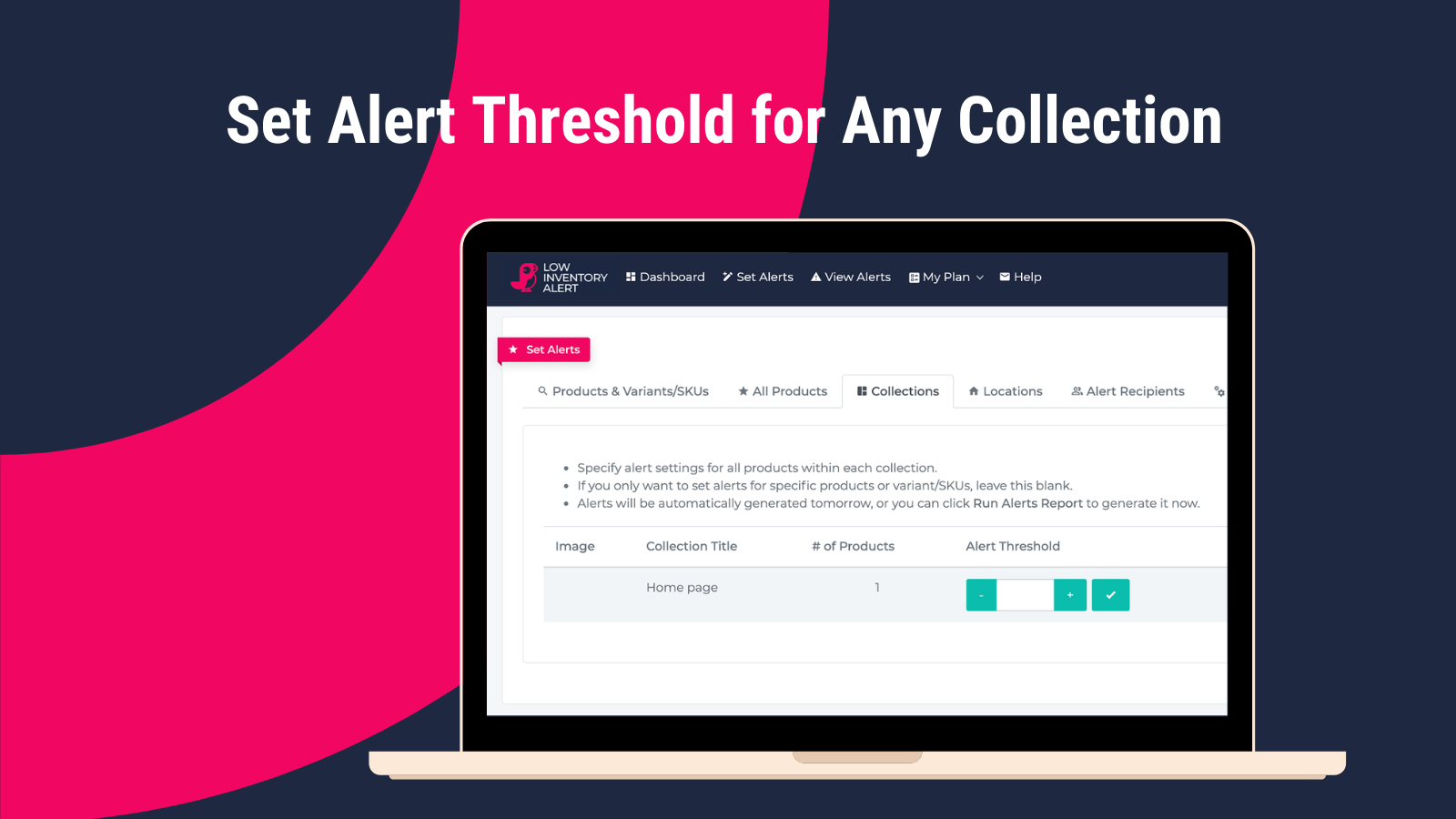 Set Alert Threshold for Any Collection