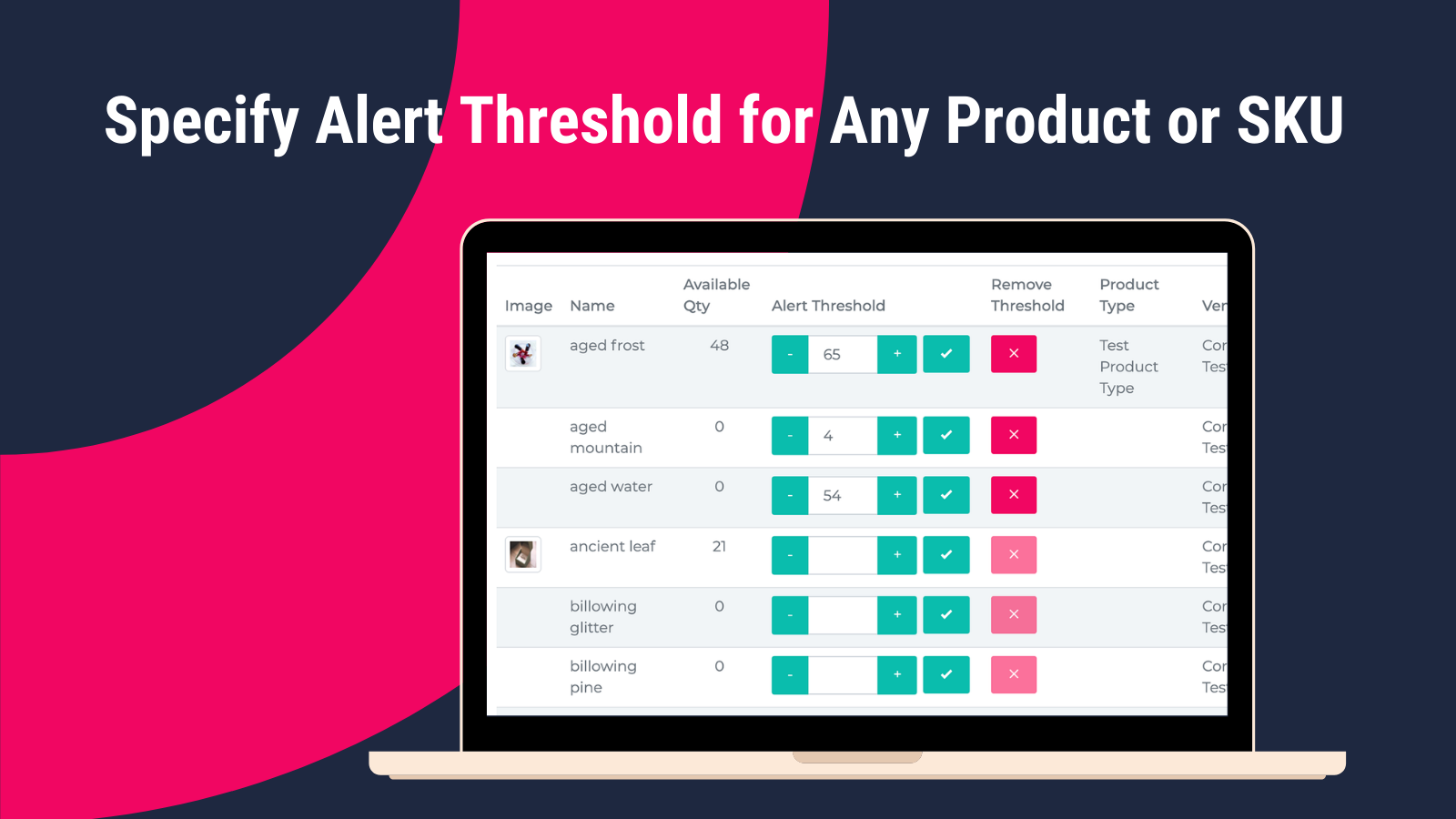 Specify Alert Threshold for Any Product or SKU