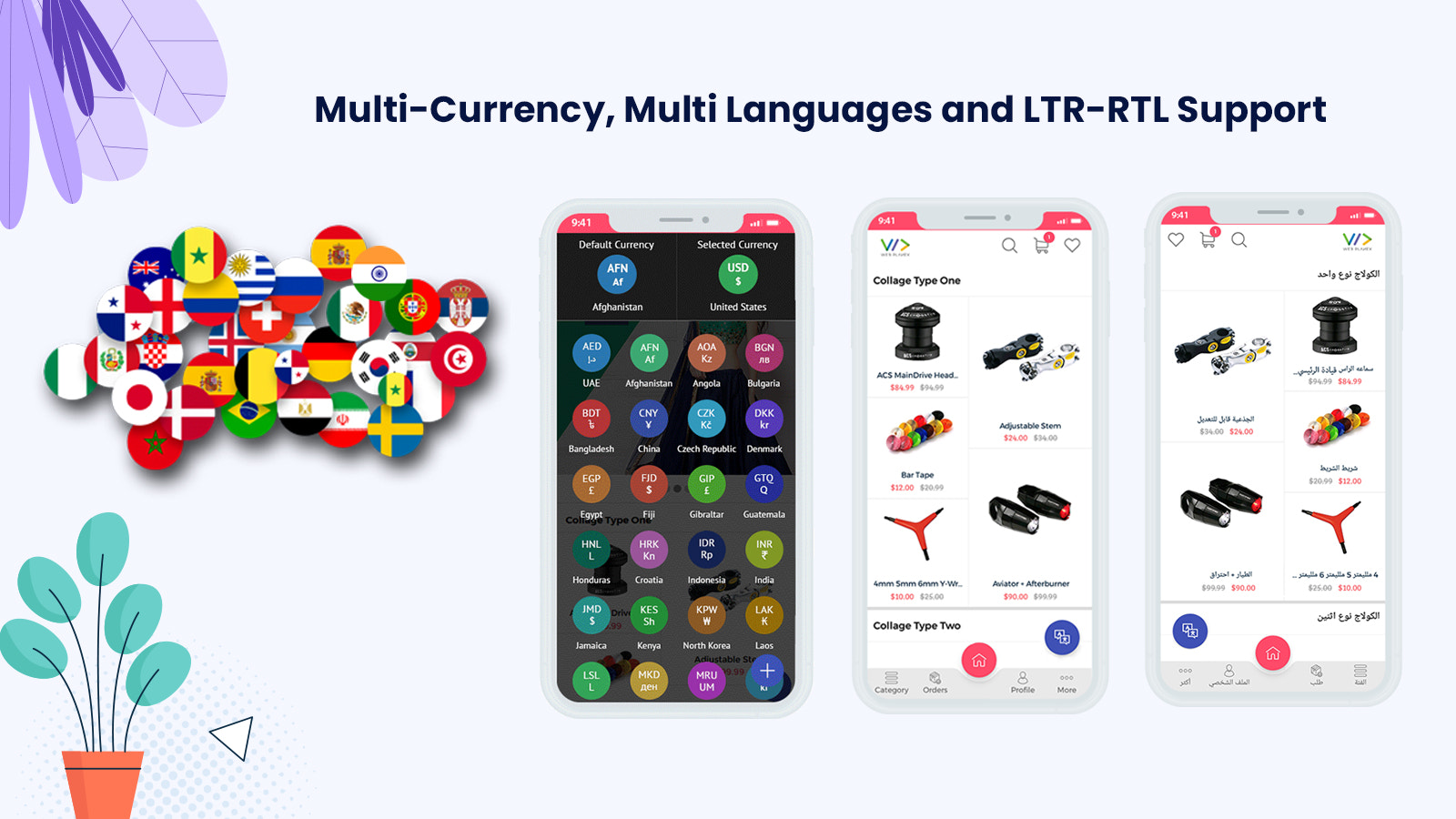 Multi currency and multi language support RTL and LTR Support