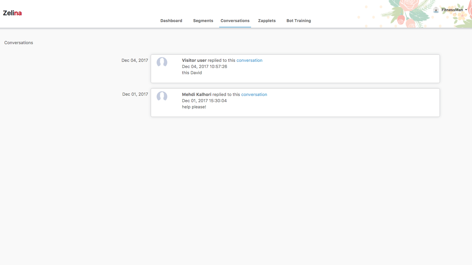 View all conversations through your admin dashboard.