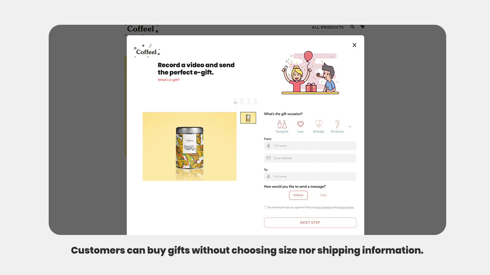 Buying gift without choosing size nor shipping information