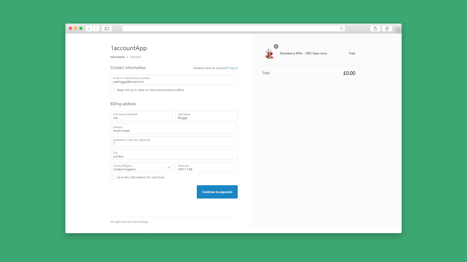 Customer completes input of information on your store