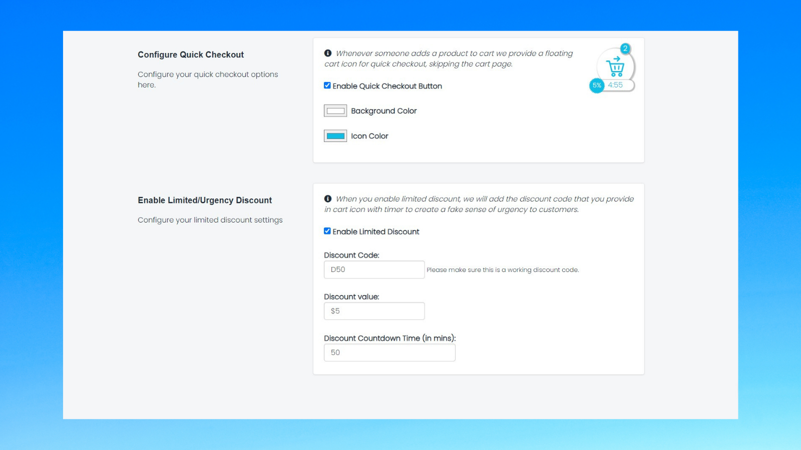 Dashboard Settings - One Click Checkout