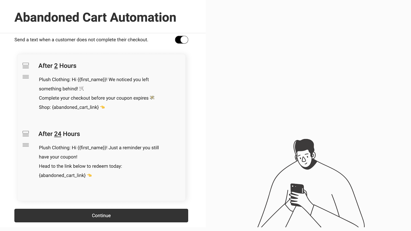 Abandoned cart automation screen
