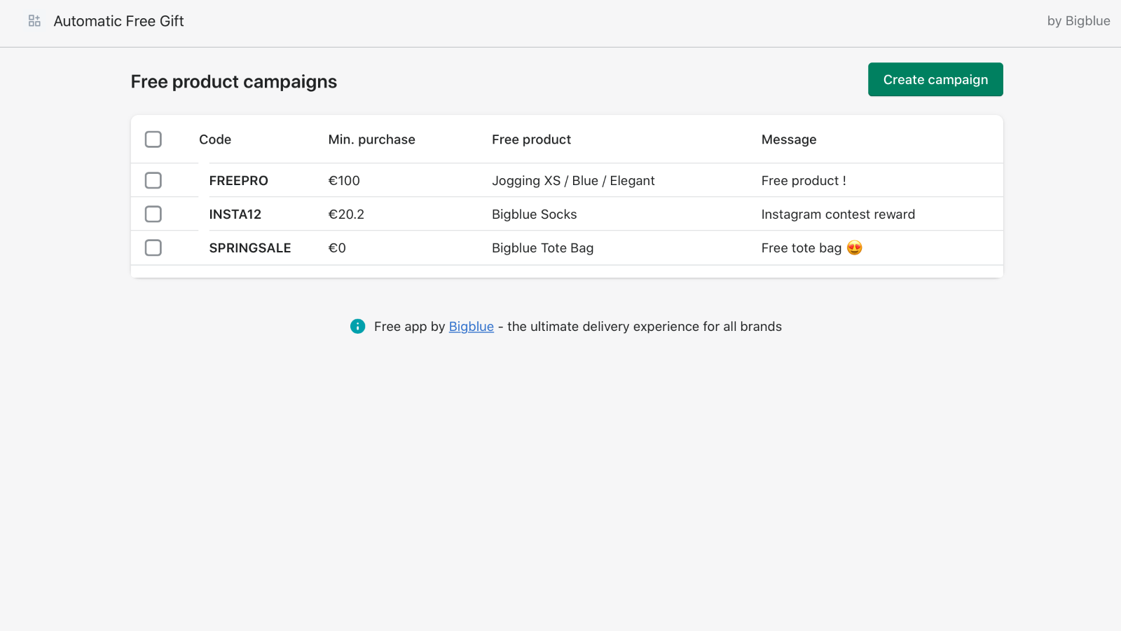 List your campaigns inside the app
