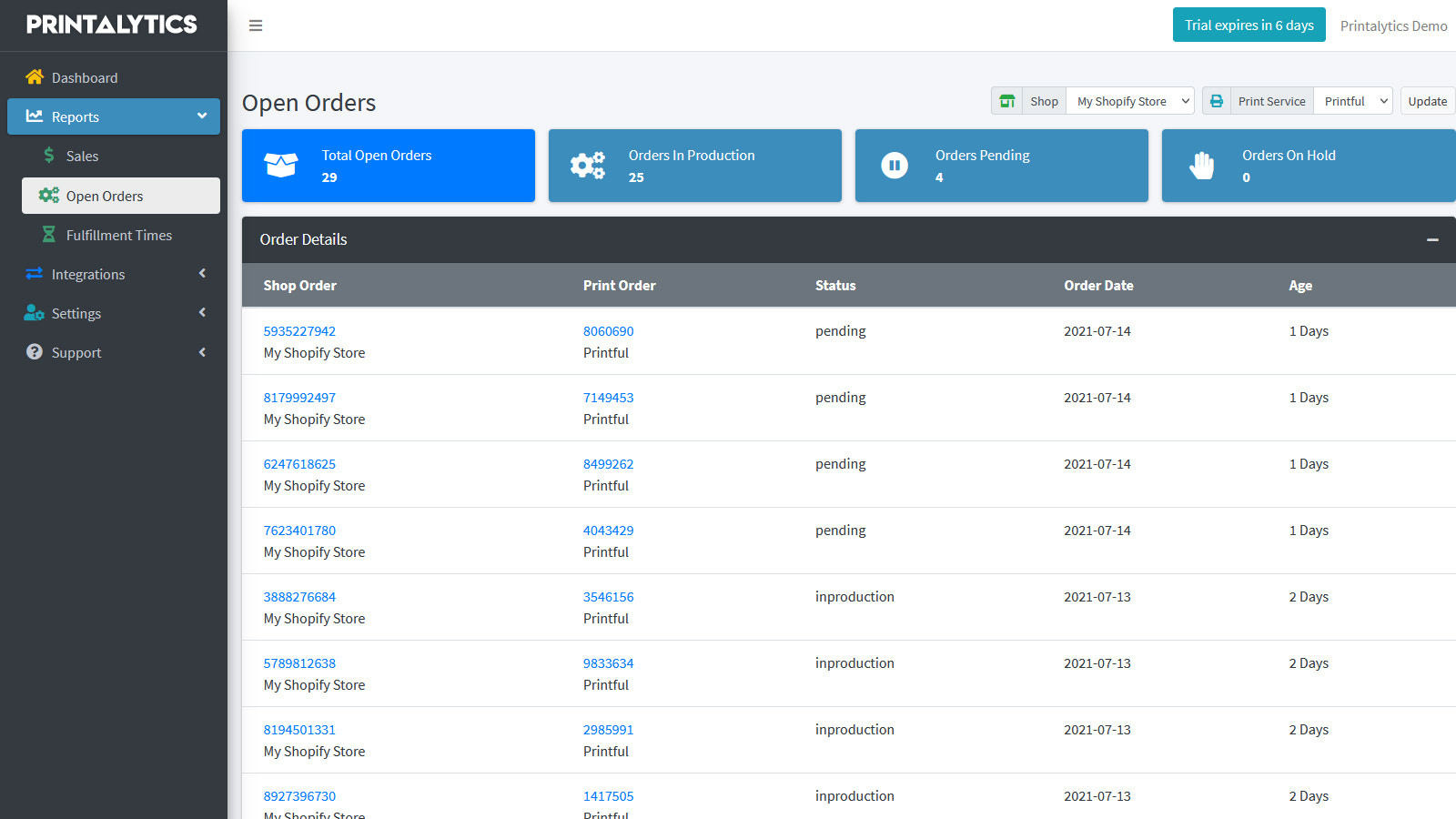 View All Open Print on Demand Orders in One Place