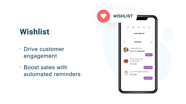 Shopify Wishlist app for increasing user engagement and sales
