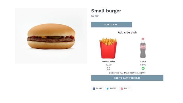 Product page a la carte upsell