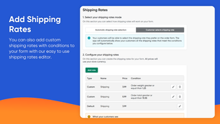 Create custom shipping rates for your form