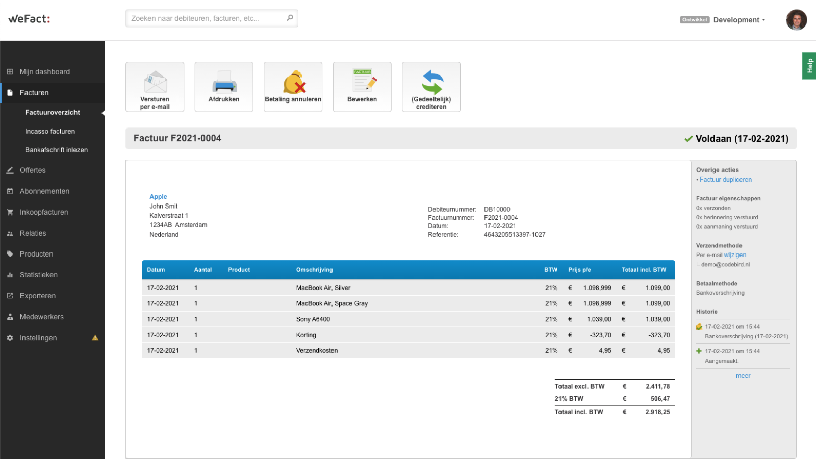 WeFact invoice automatically created based on Shopify order