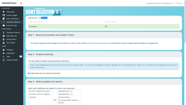 Enable a sort selector on your theme