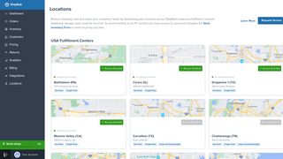 ShipBob locations page with fulfillment centers