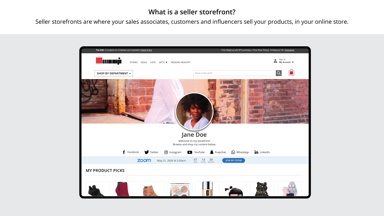What is an influencer storefront?