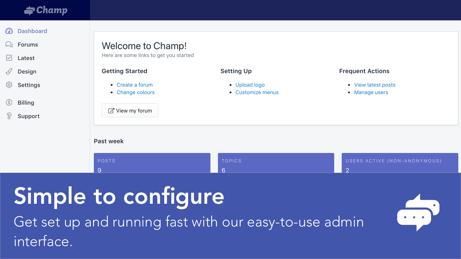 Forums are simple to configure