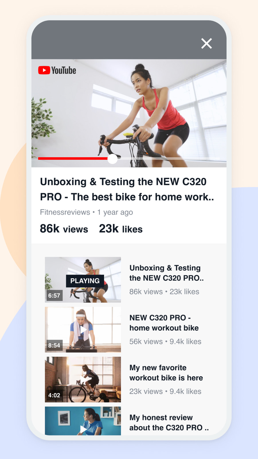 Mobile YouTube video reviews for Shopify