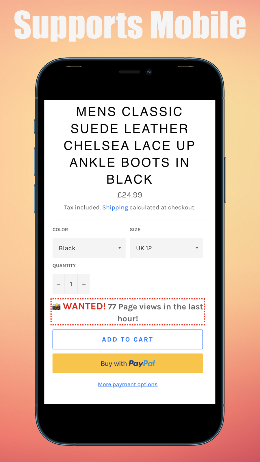 The app in action in a mobile version of the store