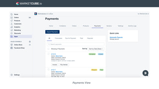 Marketcube Payments view