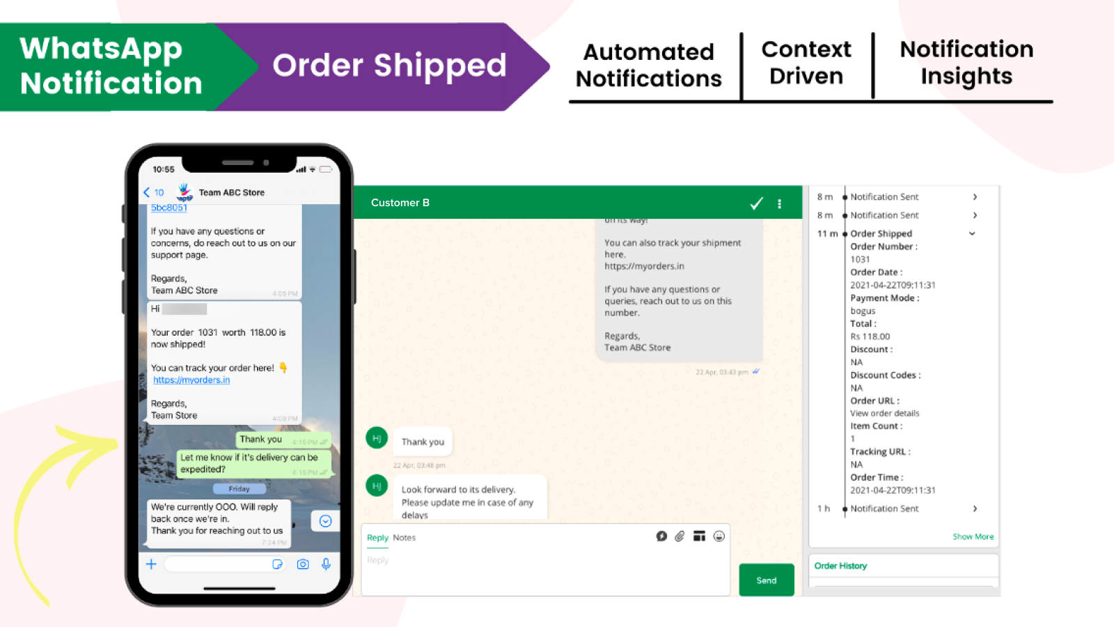 Automated WhatsApp based notifications when an order is shipped