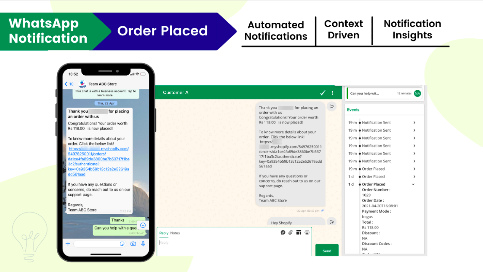 Automated WhatsApp based notifications when an order is placed