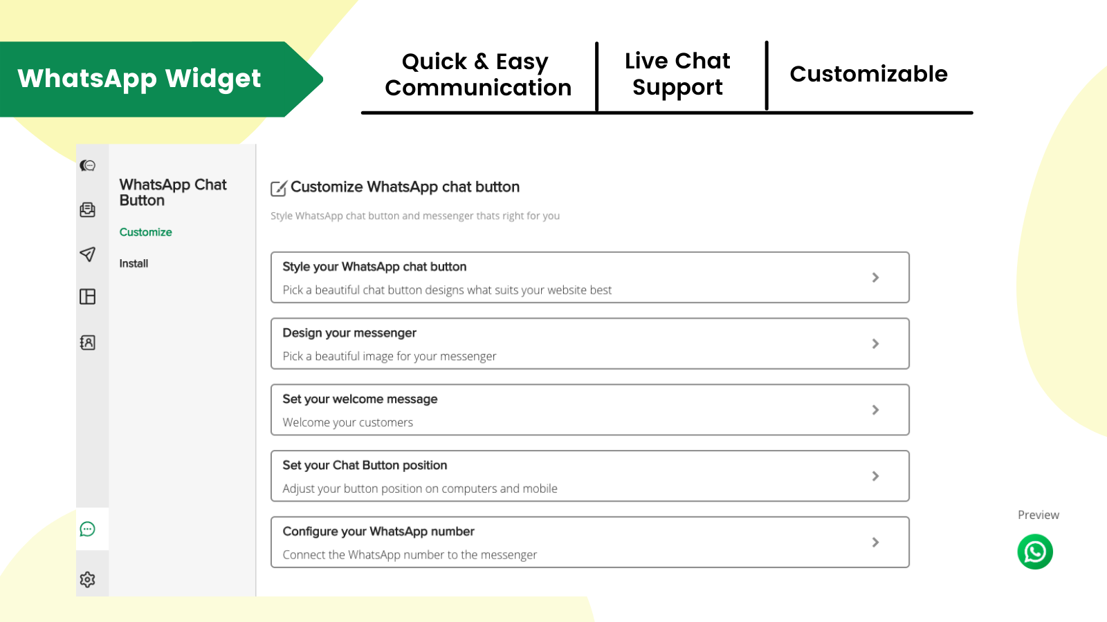 Easy to install, customisable WhatsApp widget for store owners
