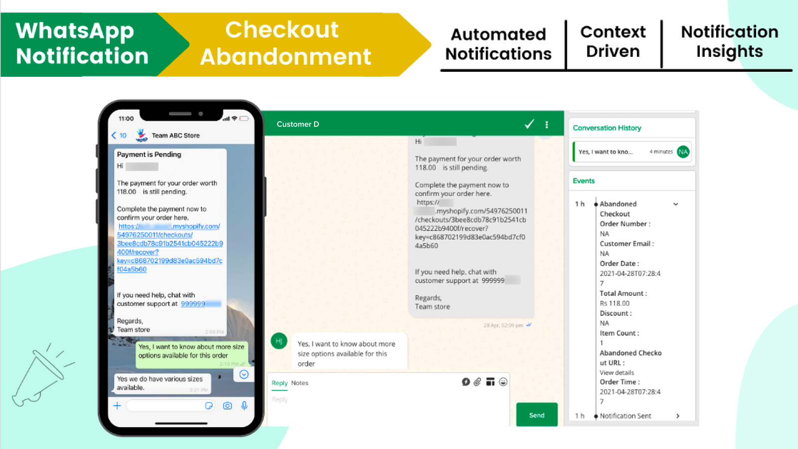 Automated WhatsApp based notifications for checkout abandonment