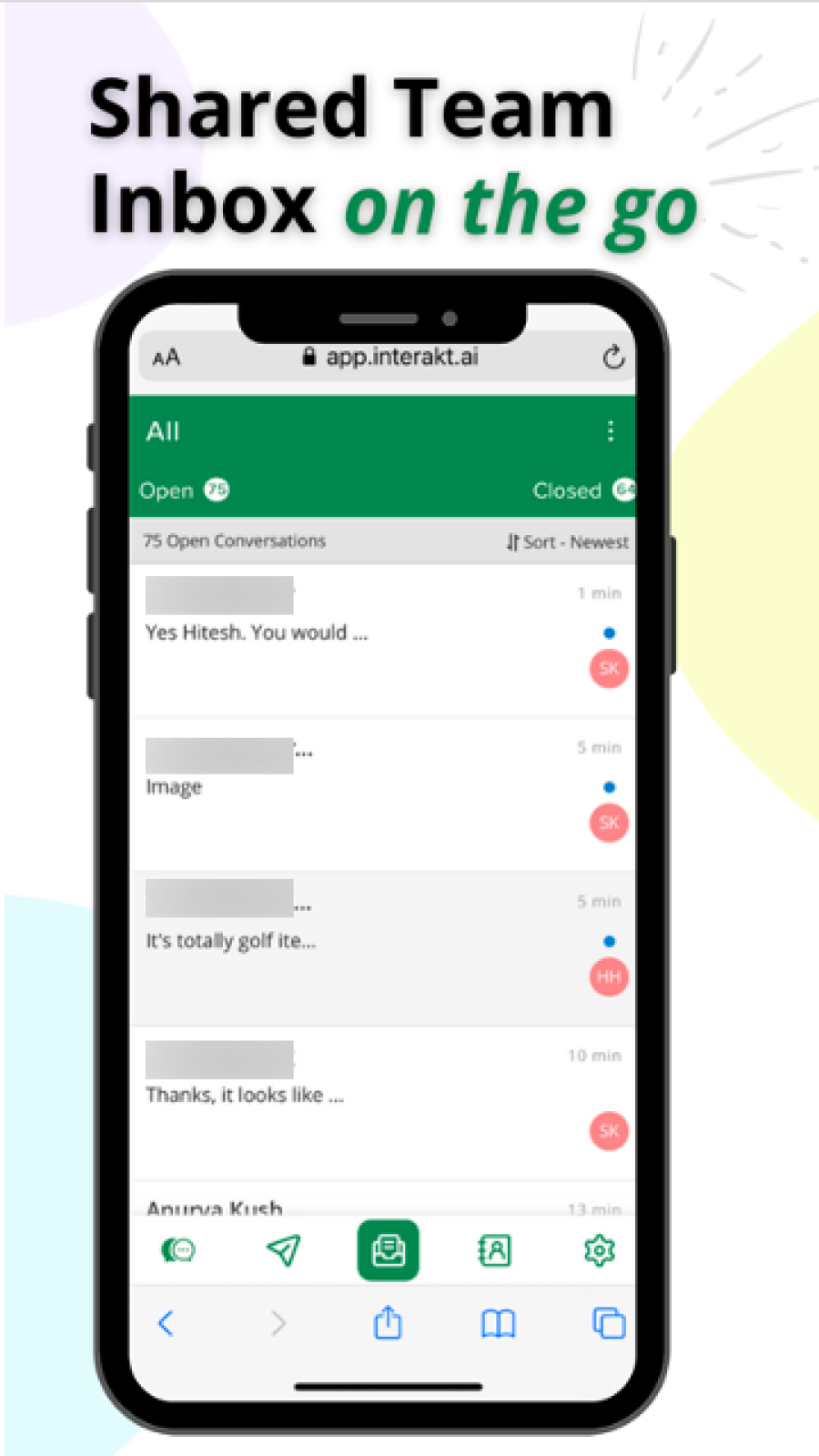 Native App to converse with customers on the go