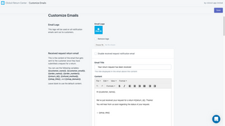 Fully customisable customer emails with HTML editing.