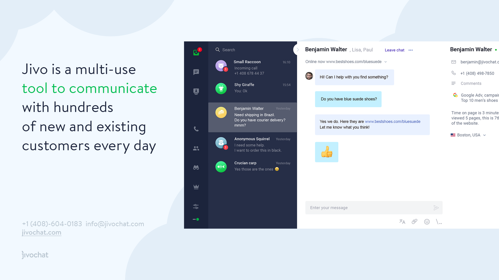 Jivo Live Chat & Business Messenger for Shopify