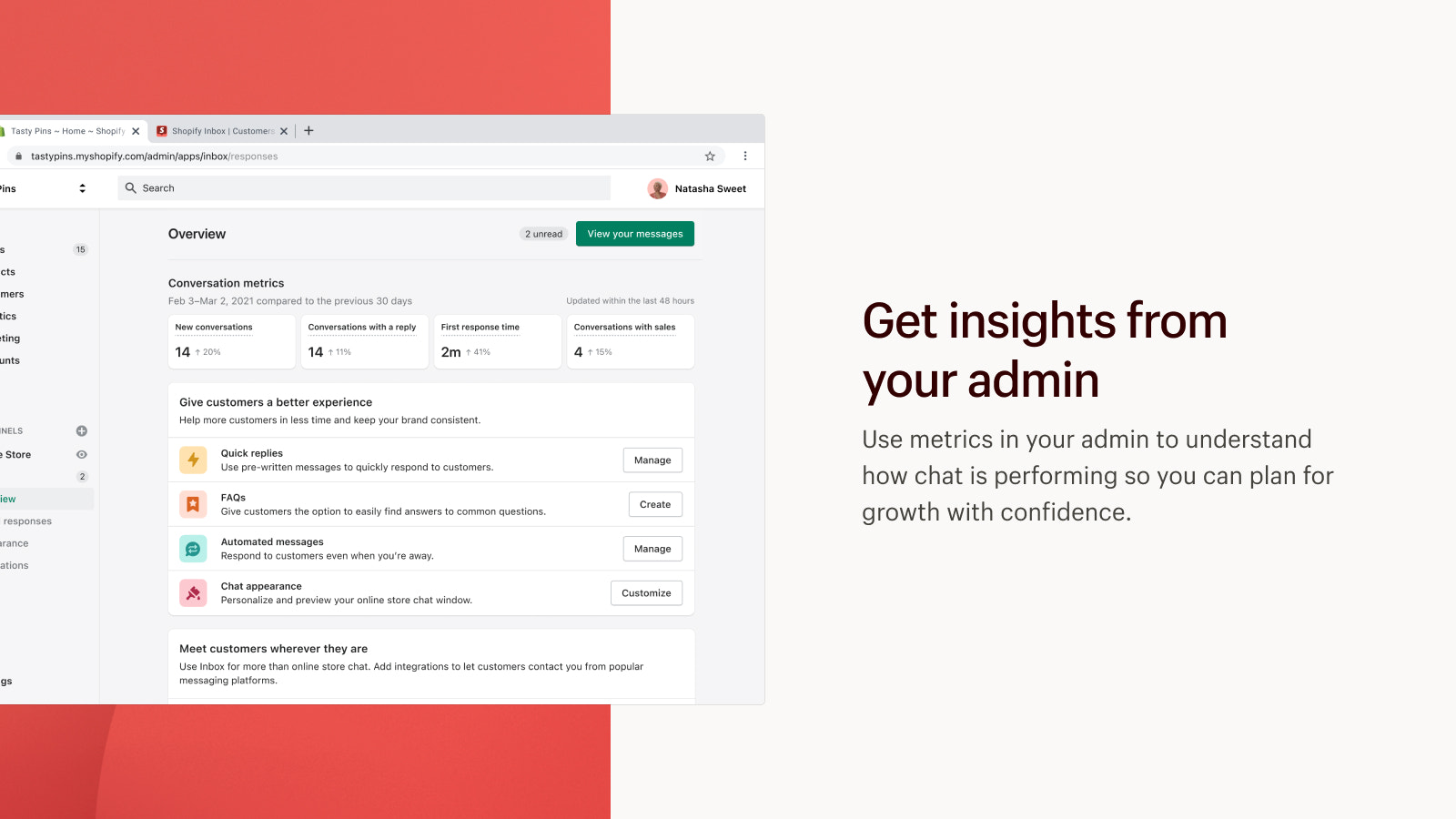 Get insights from admin to understand how chat is performing