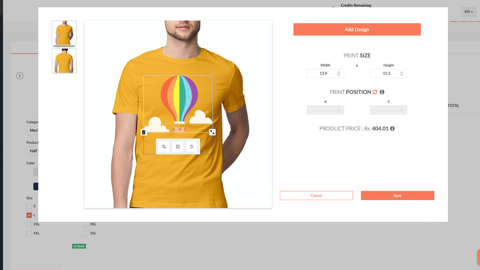 Product customiser on Printrove