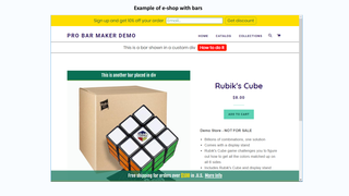 Example of e-shop with bars