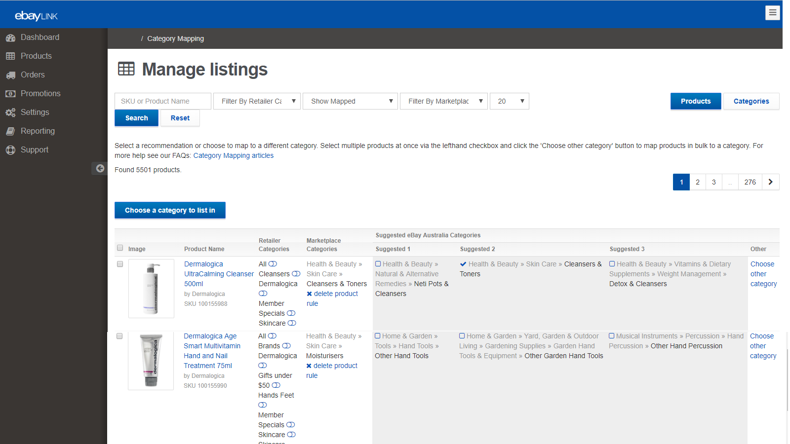Choose eBay Categories to list your products