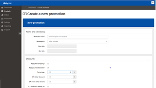 Create promotion or pricing change for ebay