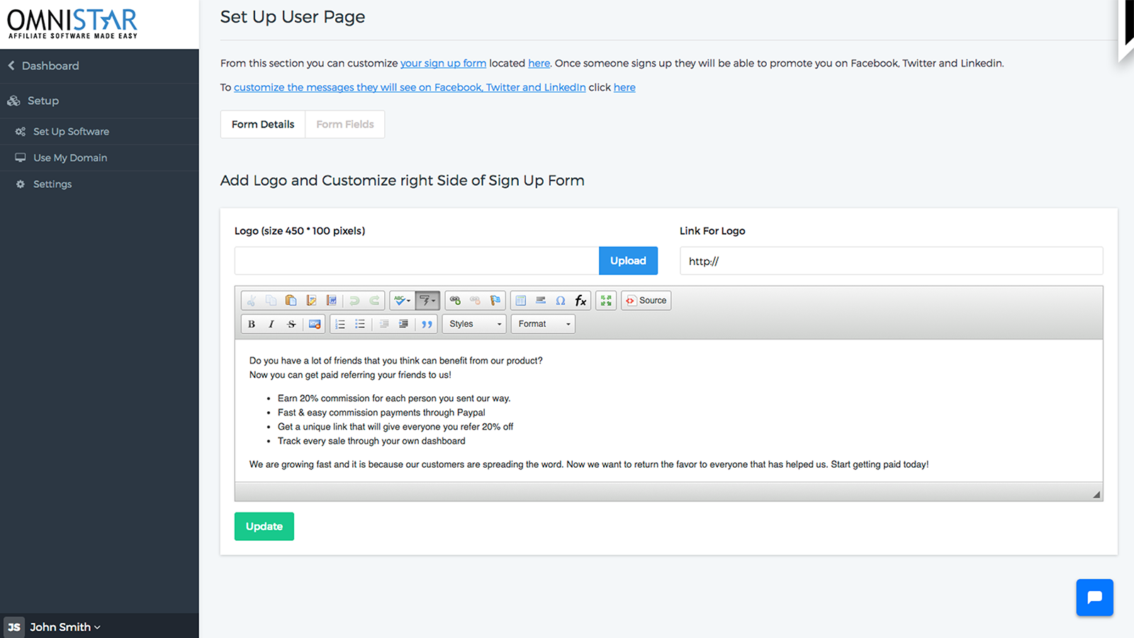 set up user page
