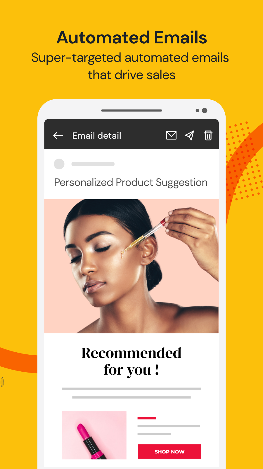 Personalized product suggestion email automation