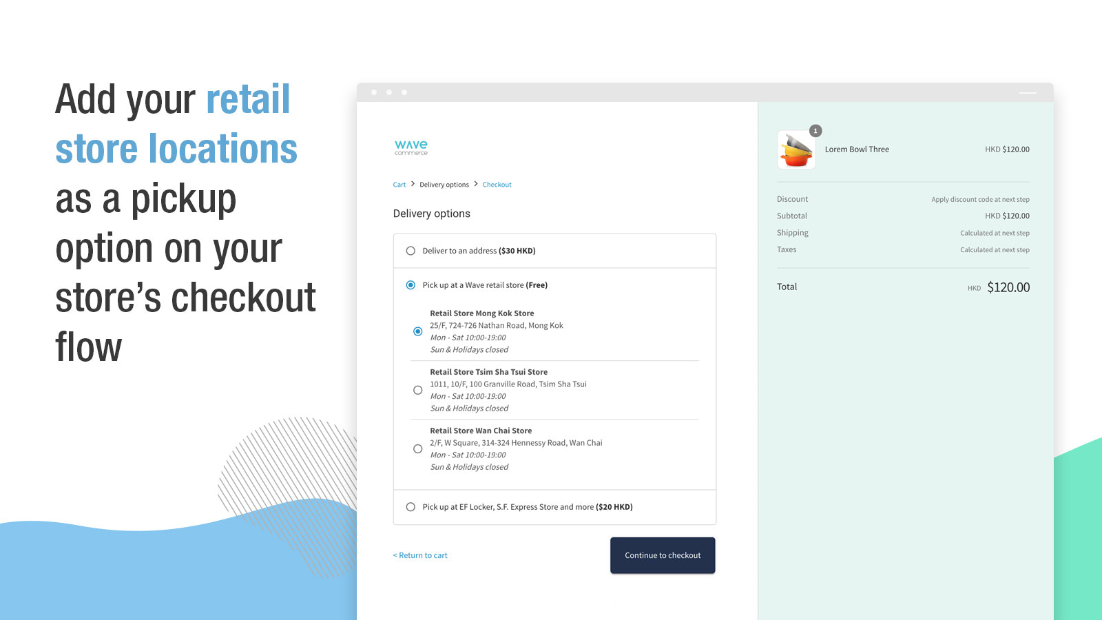 Add your retail store locations as a pickup option on your store