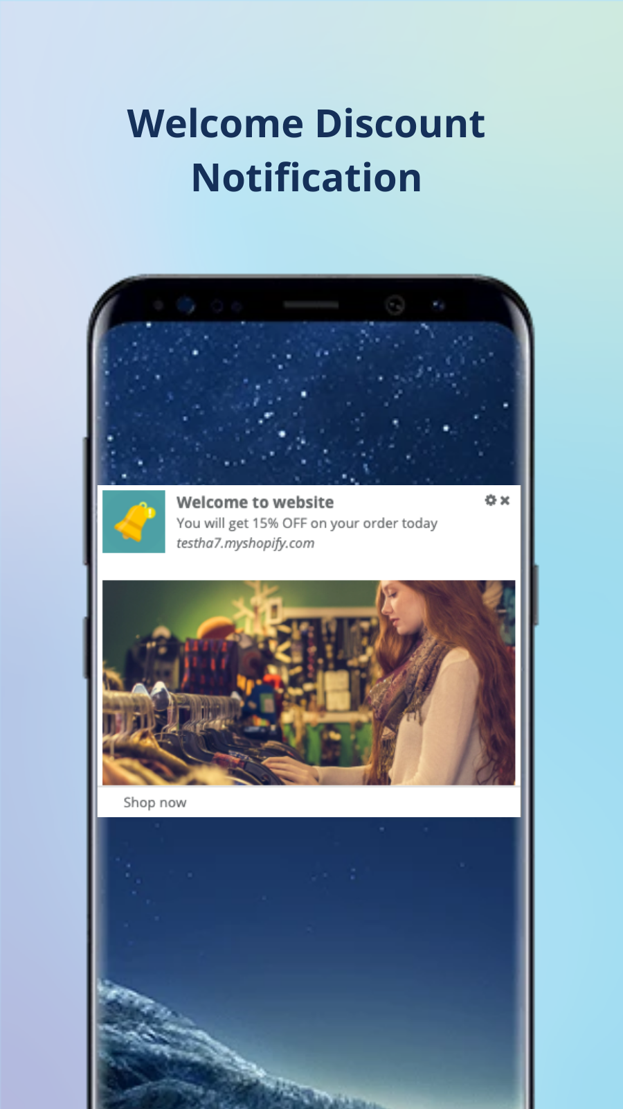 Mobile Push Notifications app: welcome discount