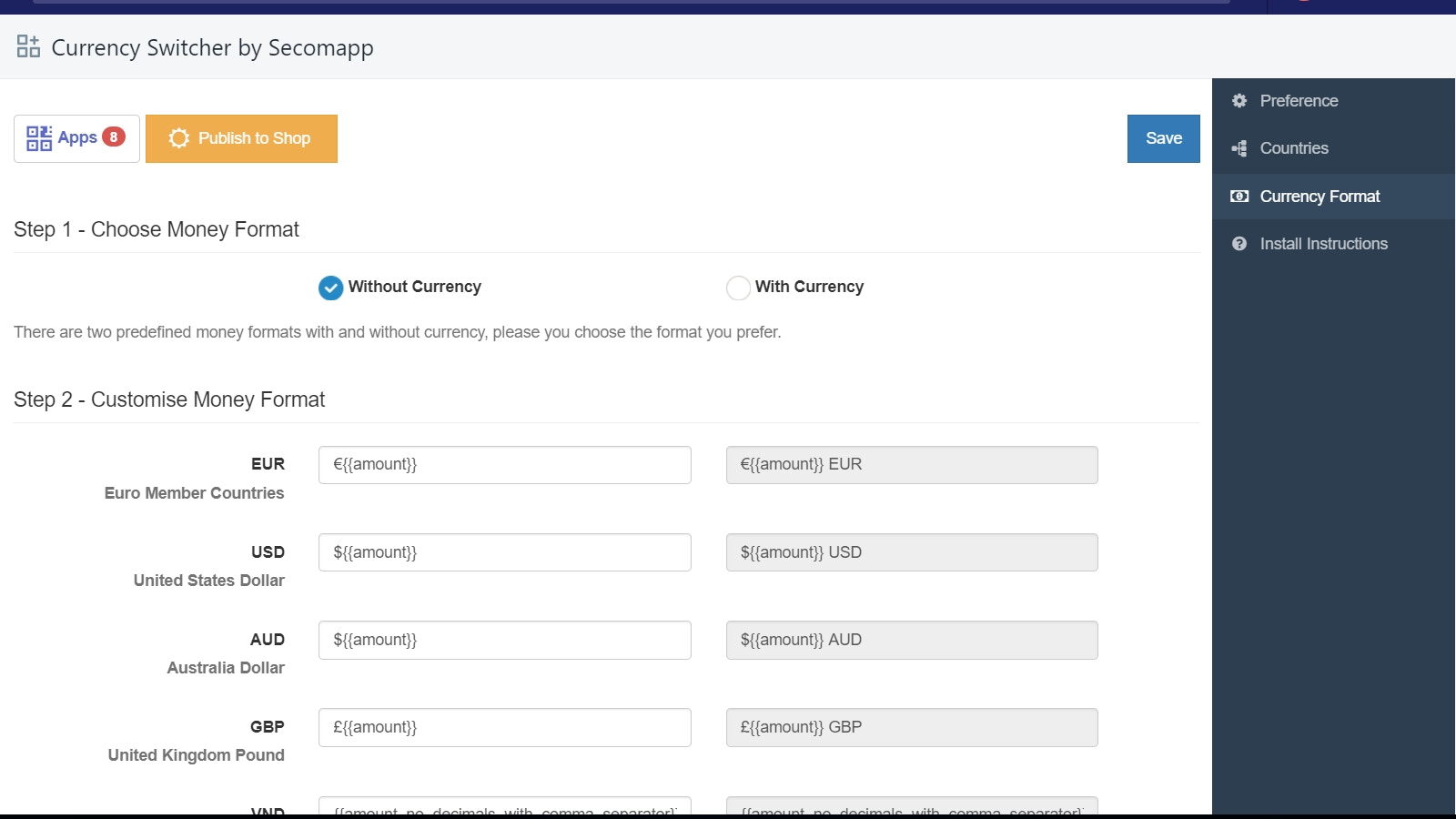 Currency switcher backend 3