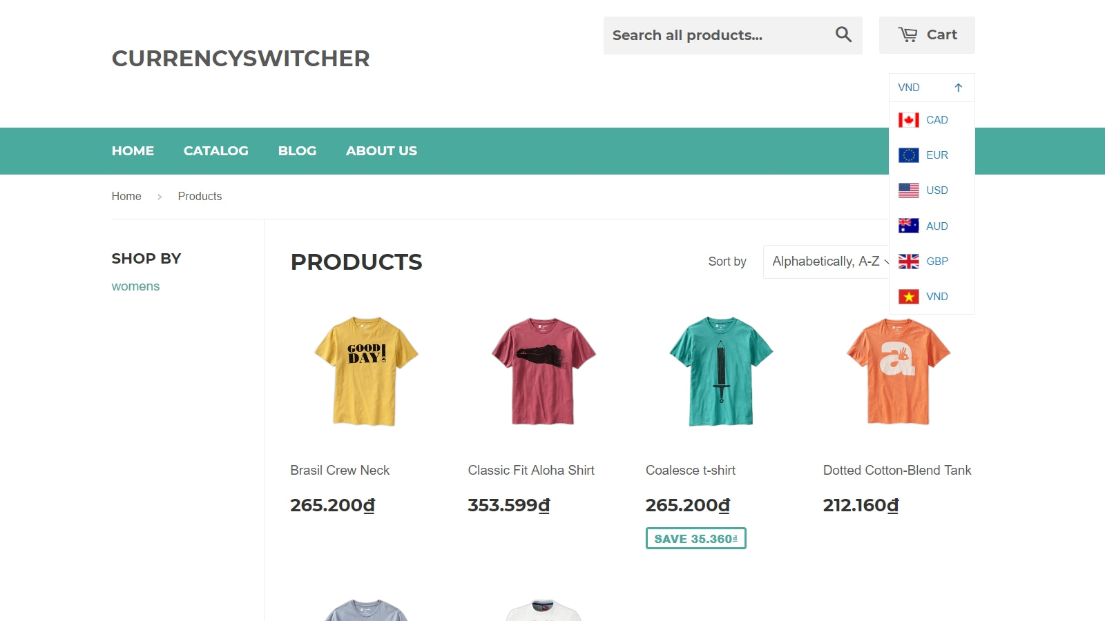 Currency switcher on the frontend