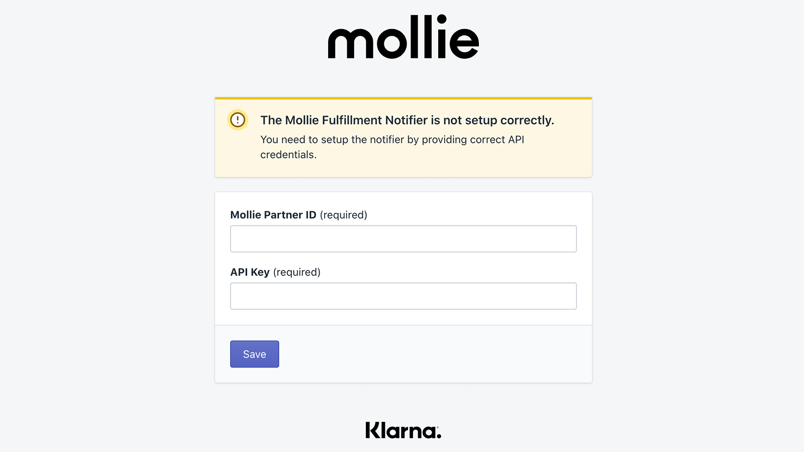 Fill in the API details in order to work with Klarna