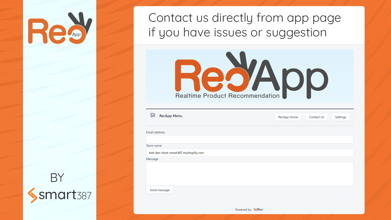 Contact us with feature request or issues directly from app