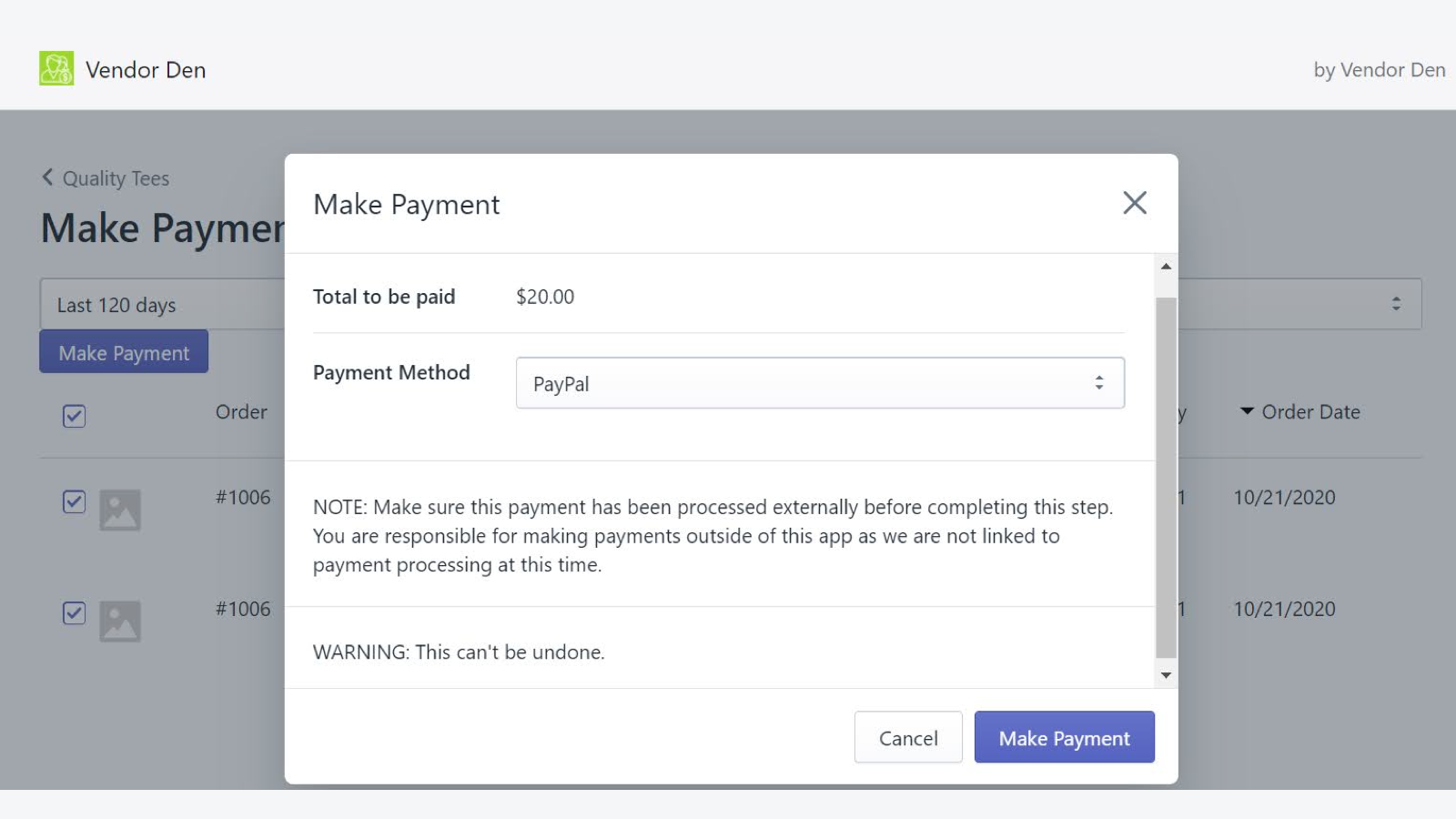 Choose payment method and track payout history.