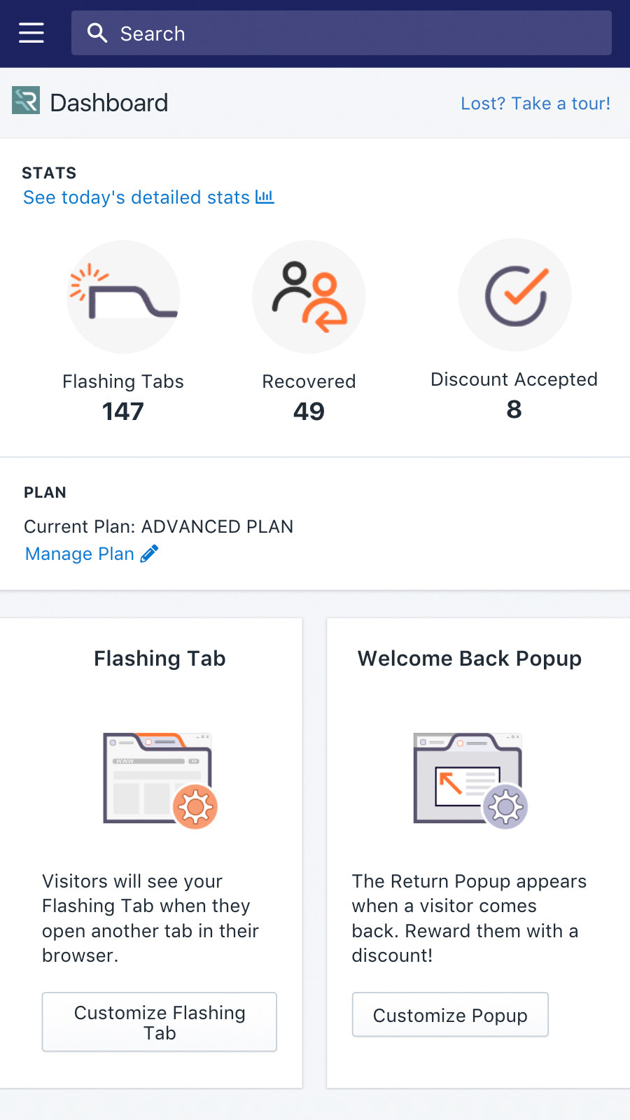 Recover Dashboard