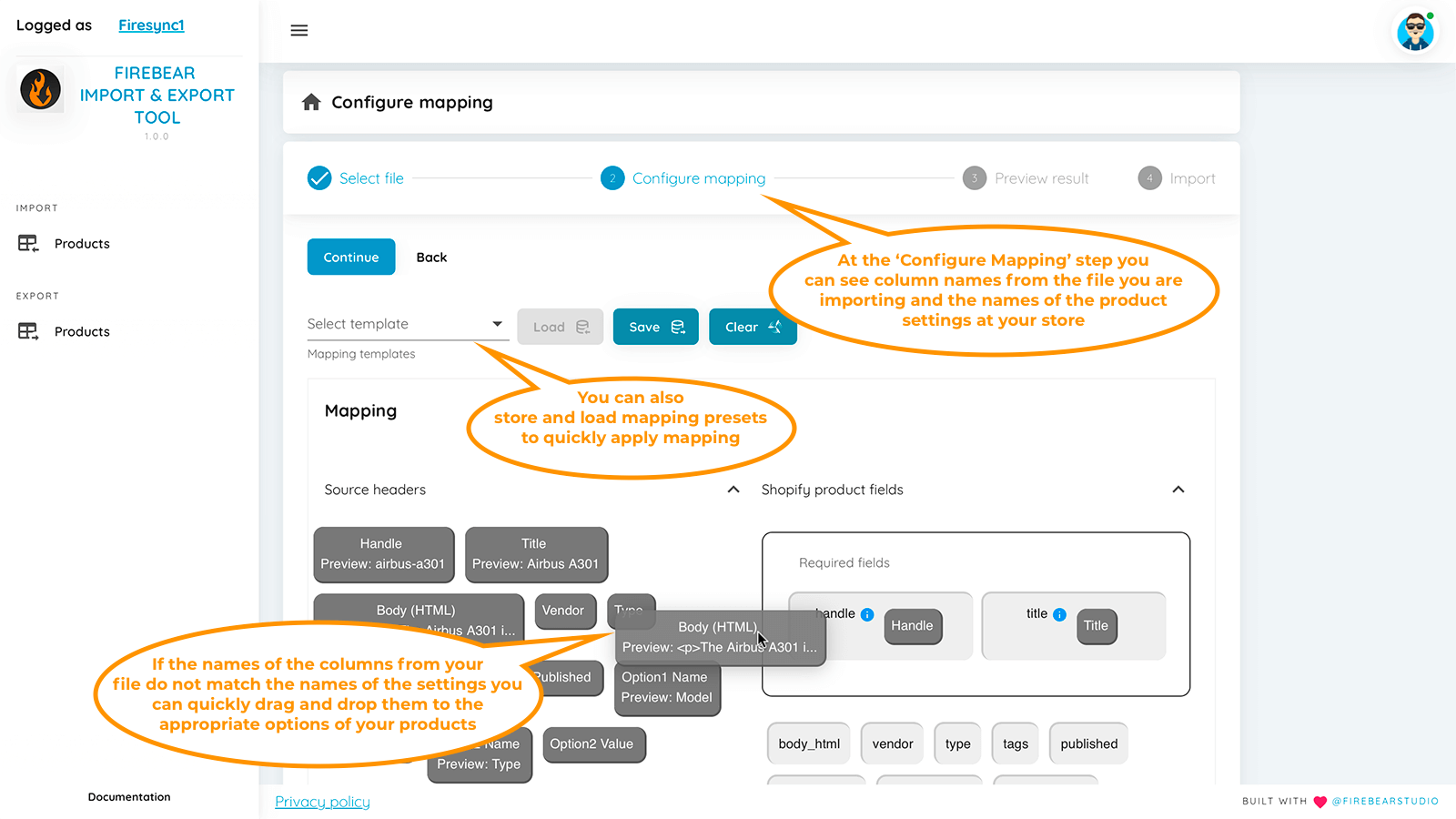 Step 2: map custom column names with store settings