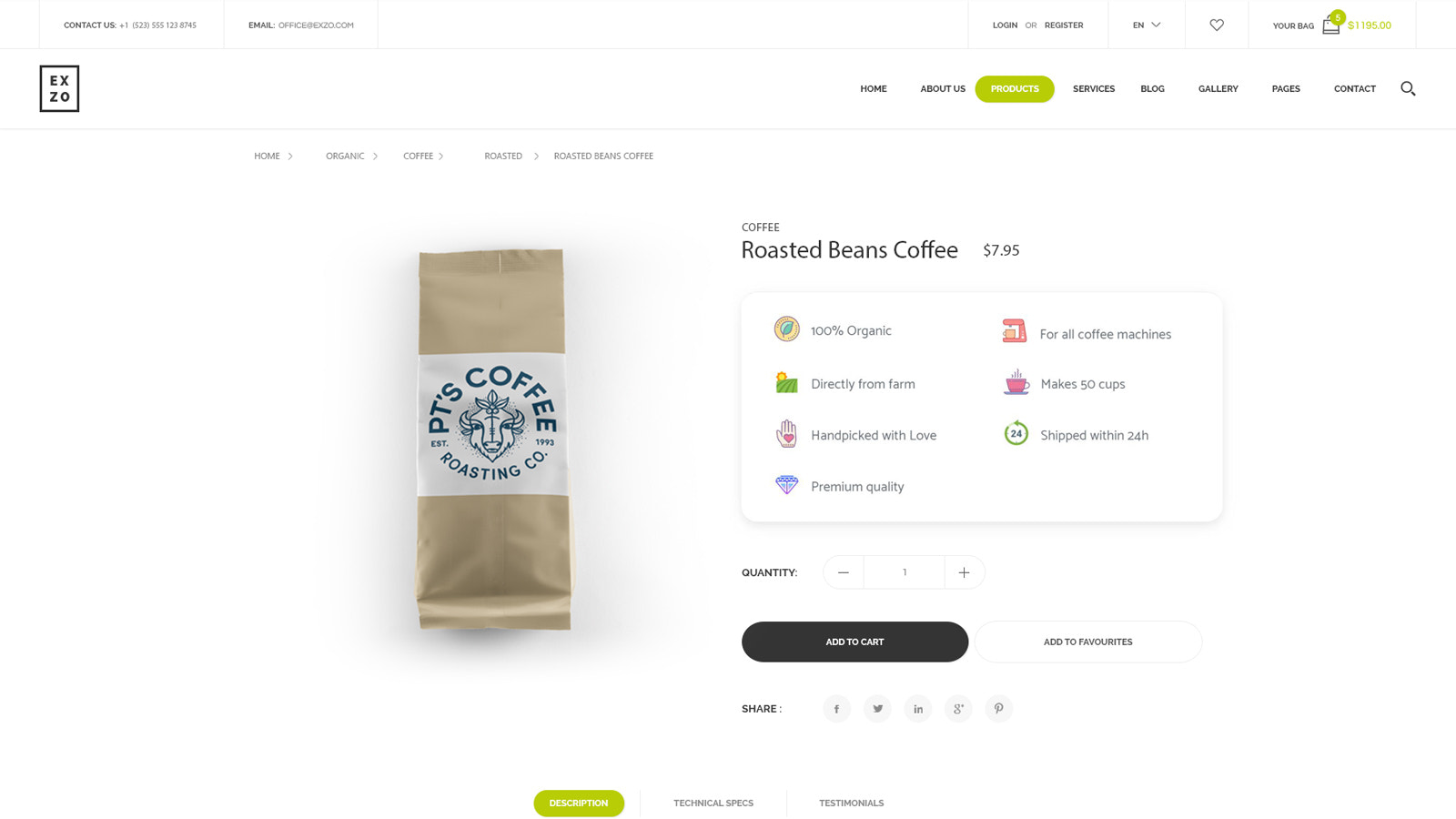 Product info for coffee which converts