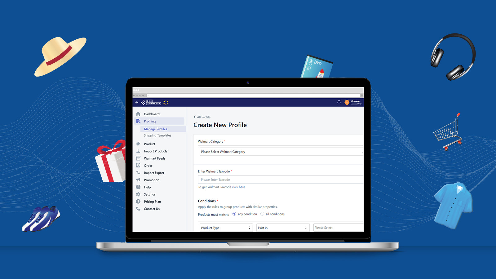 Create profile to manage products under one Walmart Category