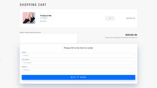Cart page form