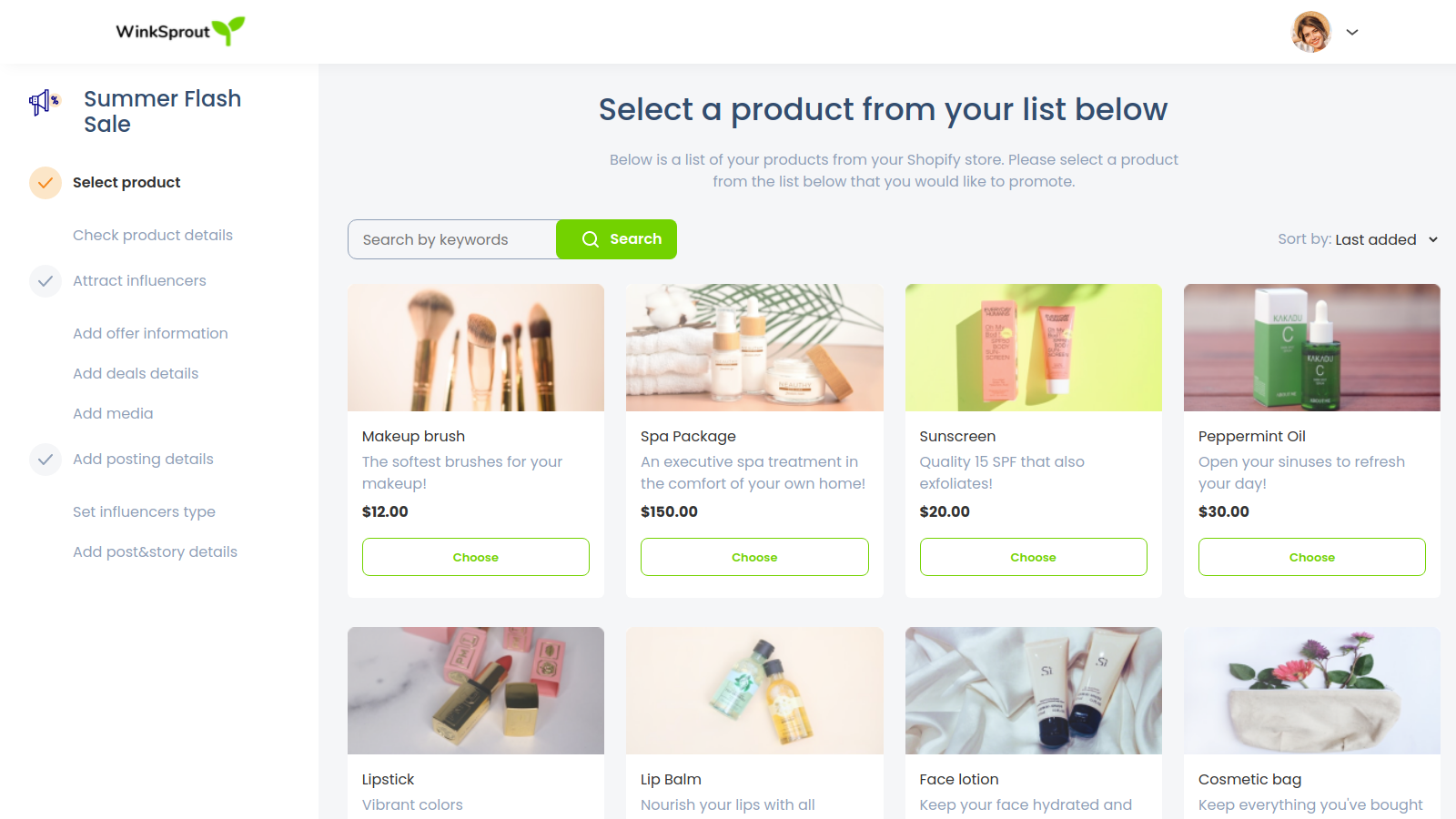 Select your product directly from Shopify