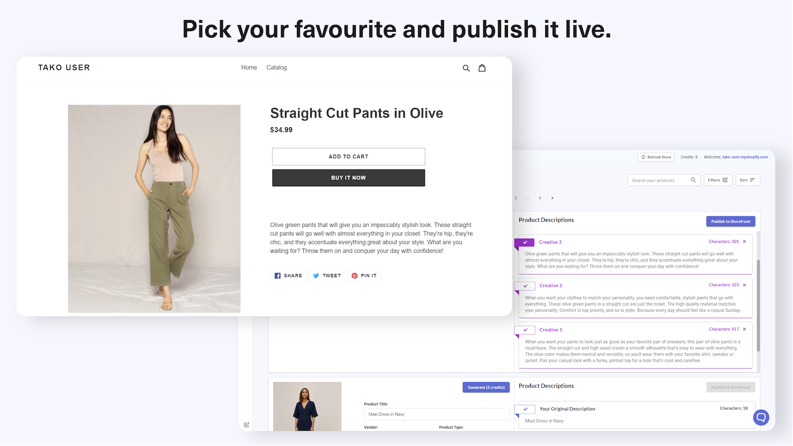 Save descriptions live to the copywriting on your product page